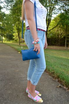 Lilly Pulitzer for Target Nosie Posey Espadrilles, Gigi New York Maggie Crossbody, hand made wire wrapped bangles, LC lauren conrad jeans - style blogger fashion