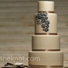 Amy Beck Cake Design - Chicago, IL - 4 Tier fondant wedding cake featuring ribbon and decorative sugar brooches - #amybeckcakedesign