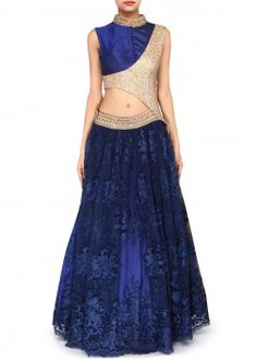 Navy blue gown adorn in sequin embroidery only on Kalki