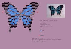 Blue Swallowtail butterfly bead pattern + finished beadwork
