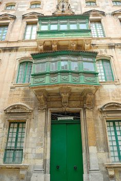 Green balconies and doorway | Malta: Valletta's Streets via No Apathy Allowed