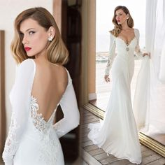 New Arrival 2019 Elegant Long Sleeve Mermaid Wedding Dress Vestido De Noiva Chiffon And Spandex Bridal Gowns Robe De Mariee Bohemian Style Wedding Dresses, Elegant Wedding Dress, Cheap Wedding Dress, Elegant Bride, Wedding Dressses, 2015 Wedding Dresses, Bridal Dresses, Wedding Gowns, Lace Mermaid Wedding Dress