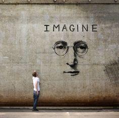 music, wall art, graffiti, imagin, street art, johnlennon, people, john lennon, streetart