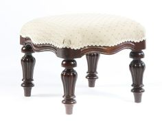 Square Victorian Footstool. A Victorian square, upholstered footstool with tapered flute legs. Available painted or polished in any colour and upholstered in any fabric.