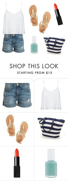 """#24PostsInAWeek is back"" by rojoubdalia on Polyvore featuring Current/Elliott, Alice + Olivia, Ancient Greek Sandals, NARS Cosmetics and Essie"
