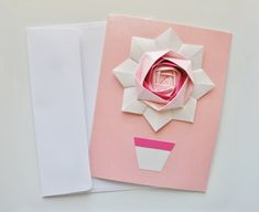 Handmade Cards Set.Greeting Cards.Set of 3.Birthday Cards.Thank you Cards.Mothers Day Cards.Pink Origami Cards.Origami flower.Paper flower. by ThePaperDecor on Etsy https://www.etsy.com/listing/224468505/handmade-cards-setgreeting-cardsset-of