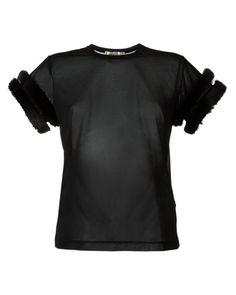 Comme des Garçons | Black Fur Trim T-shirt | Lyst