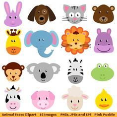 Simple Face Painting Clip Art | Clip Art, Zoo Jungle Farm Barnyard Forest Woodland Animal Clipart Clip ...