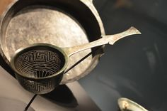 *POMPEII, ITALY ~ Colander, Bronze, Cent B. Colanders were abundant in Pompeiian households. The geometric patterns punched into the bowl provided a decorative element as they were stored on kitchen walls.