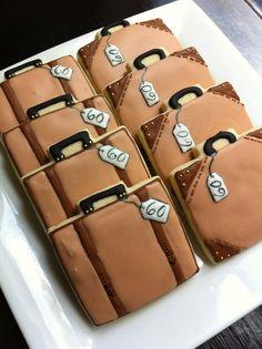 Suit Case Luggage travel decorated cookies 1 dozen