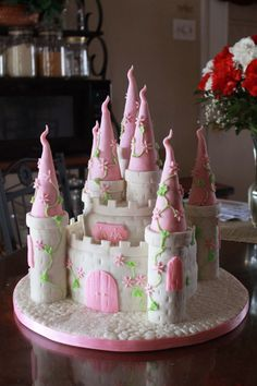 Pink Princess Castle Birthday Cake! …