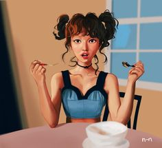 Some fanart of Wendy from kpop group Red Velvet. Love the group's new song Russian Roulette.