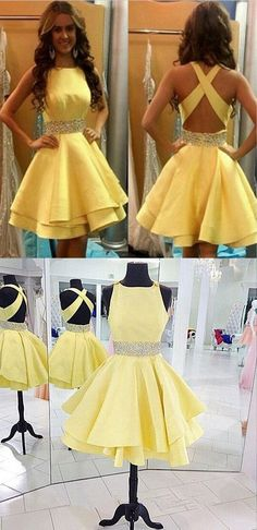 2017 short prom dress, short prom dress, yellow prom dress, cross back party dress,yellow beading dress,cute party dress,homecoming dress