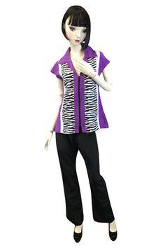Retro Stylist Wear, CA designs a fabulous Zebra Smock! #petgroomerapparel, #stylistwear, #groomingsmocks, #dogroomerapparel, #petgroomingsmocks, #doggroomingsmocks