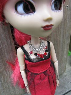 Red and Black Connector Necklace for Blythe & Pullip by finasma