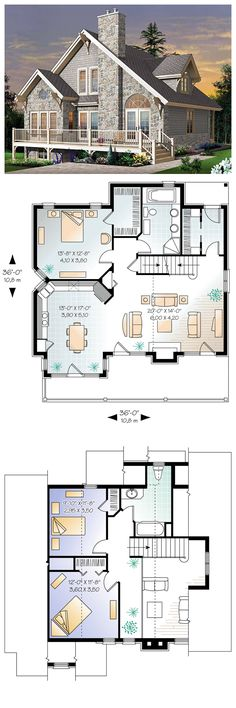 House Plan 65519 | Total living area: 1625 sq ft, 3 bedrooms & 2 bathrooms. An ideal house for any time of year. Warm and inviting, it does not skimp on windows and offers a remarkable blend of materials, sloping roof, decorative moldings and angles. #european #houseplan [I love the closed-off foyer and its large closet.]