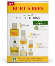 Amazon.com: Burt's Bees Natural Acne Solutions 3 Step Regimen Kit: Beauty