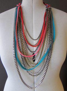 Kengännauhaa ja kettinkiä Beaded Necklace, Jewelry, Fashion, Beaded Collar, Moda, Jewlery, Bijoux, Fashion Styles, Schmuck
