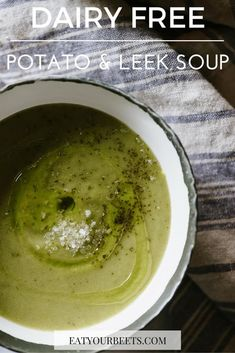 Do you love healthy dairy free dinner recipes? Perfect for winter! Dairy free potato and leek soup! Add this to your weekly meal plan recipes! Beet Recipes, Veggie Recipes, Whole Food Recipes, Soup Recipes, Dinner Recipes, Veggie Meals, Vegetarian Recipes, Healthy Recipes, Dairy Free Soup