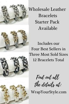 Perfect way to introduce my leather bracelets to your customers. This starter pack includes our four best sellers in the three most sold sizes. Twelve bracelets total. #wrapyourstyle #leatherbracelets #leatherwrapbracelets #leathercuffbracelets #magneticbracelets