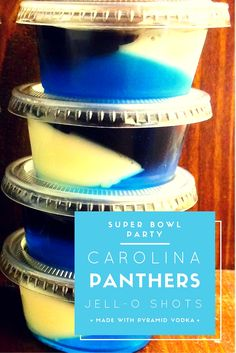 Pyramid Vodka drinks for Super Bowl 50. Carolina Panthers blue, white, and black layered Jell-O shots.  http://www.pyramidvodka.com/cocktails/