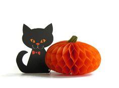 Vintage Halloween Party Decoration Black Cat Orange Honeycomb Pumpkin. $15.00, via Etsy.