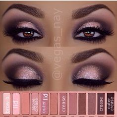 "My favorite look! ""Dust"" - lid ""Buzz"" - outer lid ""Blackheart"" - outer V ""Darkside"" or ""Nooner"" - crease! Naked 3!"
