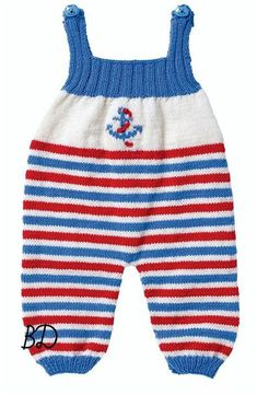 Baby Knitting Patterns Jumpsuit Striped jumpsuit for the baby with an anchor (… Baby Sweater Knitting Pattern, Baby Knitting Patterns, Baby Pullover, Baby Cardigan, Jumpsuit Pattern, Pants Pattern, Anchor Sweater, Crochet Baby Pants, Knit Pants