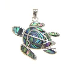 - Honu Size: 27mm (W) x 21mm (L) - Pendant Size: 29.5mm long including the bail - Bail Opening: 2.2mm (can fit through a chain as thick as 1.8mm) - Weight: approx. 4.4 grams - Stone: Abalone Paua Shel