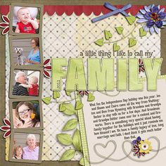 Scrapbook layout.  Good first page for a family-theme book. ⊱✿-✿⊰ Follow the Scrapbook Pages board visit GrannyEnchanted.Com for thousands of digital scrapbook freebies. ⊱✿-✿⊰