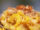 This is a truly wonderful way to really destroy any nutritional value in yellow squash.  I'm really not a Paula Deen fan, but this Cheesy Squash Casserole is so good in the best comfort-food kind of way.