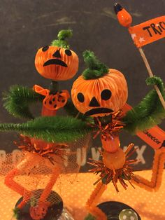 Dollhouse Miniature Halloween Fall Pumpkins Ghost Topiary Gift Bag FallLleaves