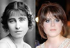 Princess Eugenie and the Queen Mother, her great grandmother