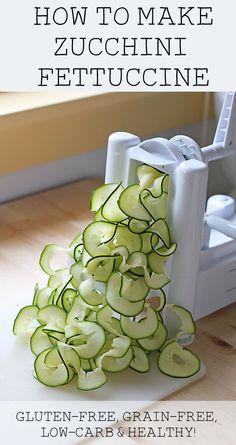 How to Make Zucchini Fettuccine (gluten-free, grain-free, vegan, paleo & low-carb) (Veggie Spiralizer Kitchen Gadgets) Raw Food Recipes, Vegetable Recipes, Low Carb Recipes, Cooking Recipes, Healthy Recipes, Low Carb Veggie, Spiralizer Recipes, Best Vegetable Spiralizer, Zoodle Recipes