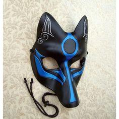 Black and Blue Okami Kitsune Mask Japanese Fox Leather Mask (580 SAR) ❤ liked on…