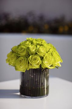 bamboo centerpiece with roses