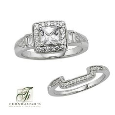 14K White Gold Wedding Set 1/2 carat center 7/8 carat total weight (20C)