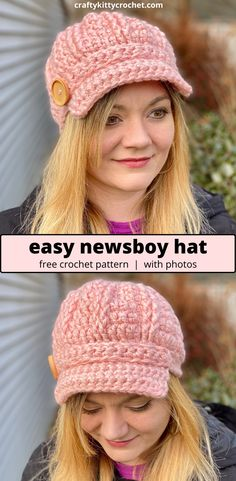 How to Crochet an Easy Newsboy Hat – FREE Pattern! How to Crochet an Easy Newsboy Hat – FREE Pattern!,Häkeln – crochet There's nothing like a good chunky hat in the winter, but what. Crochet Newsboy Hat, Crochet Hat With Brim, Easy Crochet Hat, Bonnet Crochet, Easy Crochet Patterns, Knit Crochet, Knitting Patterns, Knitting Ideas, Crochet Shrugs