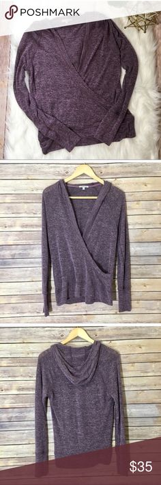 Ballerina Wrap Charlotte Russe Sweater 🌟 Adorable ballerina wrap purple sweater from Charlotte Russe! Sweater does feature a hood in the back. Sweater is size M and fabric content is 52% Polyester, 46% Rayon and 2% spandex. Charlotte Russe Sweaters