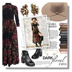"""dark floral"" by fashion-pol ❤ liked on Polyvore"