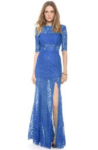 Vestido encaje hueco bordado manga media-azul