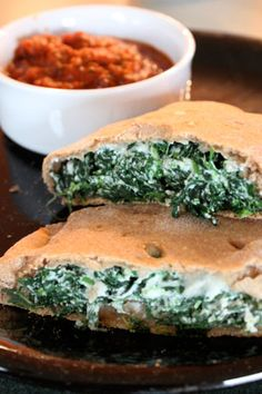 Spinach Calzones- these were yummy. I added shredded chicken and used the Greek yogurt pizza dough with whole wheat flour. Good stuff!