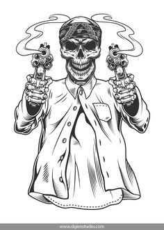 Skeleton gangster with revolvers Royalty Free Vector Image , Gangster Drawings, Chicano Drawings, Gangster Tattoos, Lettrage Chicano, Chicano Tattoos, Tattoo Artwork, Skull Artwork, Gangsters, Tattoo Sketches