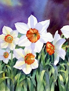 Ann's Watercolour Studio: Negative painting tutorial with daffodil leaves Watercolor Painting Techniques, Watercolour Tutorials, Watercolor Landscape, Watercolour Painting, Watercolor Flowers, Painting & Drawing, Watercolors, Art Floral, Daffodils