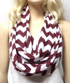 Maroon & White Chevron Print  Infinity Scarf   Jersey Knit Gift Ideas by GypsysWildHeartShop on Etsy https://www.etsy.com/listing/162346369/maroon-white-chevron-print-infinity