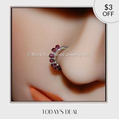 Today Only! $3 OFF this item.  Follow us on Pinterest to be the first to see our exciting Daily Deals. Today's Product: Sale -  Beaded Silver Nose Ring Wrapped with Garnet Buy now: http://www.rockyournose.com/products/beaded-silver-nose-ring-wrapped-with-garnet?utm_source=Pinterest&utm_medium=Orangetwig_Marketing&utm_campaign=Wrap%20Me