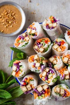 Peanut Tofu Rice Paper Rolls