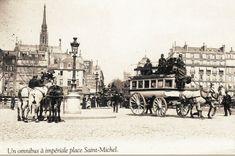Bel omnibus à impériale, place Saint-Michel, vers 1900. De l'autre côté du pont Saint-Michel on voit les maisons du quai des Orfèvres peu de temps avant leur démolition pour cause d'agrandissement du Palais de Justice...  (Paris 5e/6e)