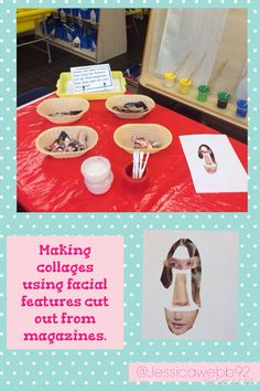 Creating collages using facial features cup out from magazines. EYFS links to UTW, EAD, Lit and PD. All About Me Eyfs, All About Me Topic, All About Me Preschool, All About Me Activities, Morning Activities, Eyfs Activities, Marvellous Me, People Who Help Us, Finger Gym