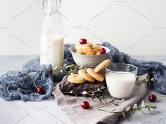 Rustic still life with milk and cookies. Food & Drink Photos